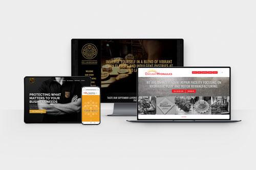 Arrangement of digital screen with responsive websites